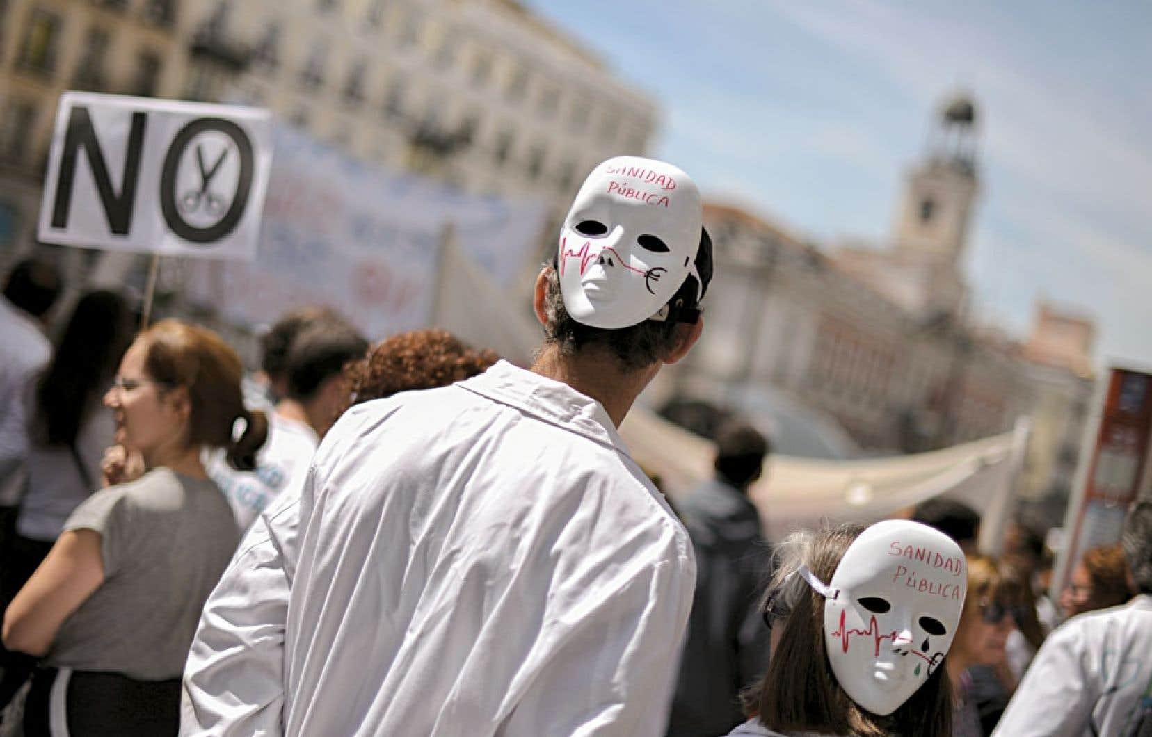 Madrid, le 21 avril 2013. Une autre manifestation contre l'austérité imposée au pays.