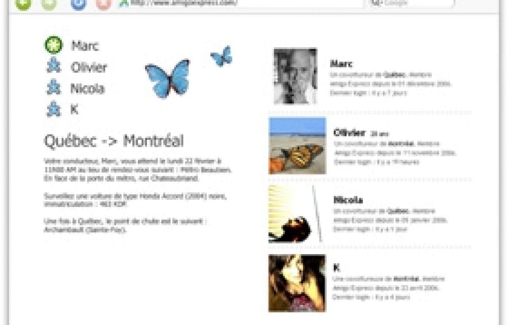 Les usagers d'Amigo Express (www.amigoexpress.com) peuvent créer leur profil en ligne semblable à ceux que l'on retrouve sur MySpace ou Facebook, avec une photo et des renseignements sur leurs intérêts, leur profession.