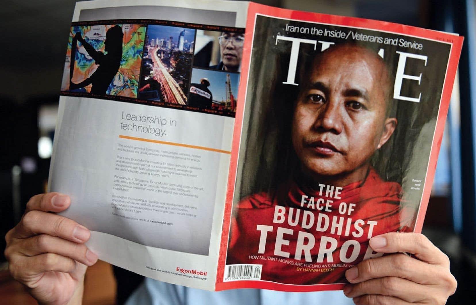 <div> La couverture du prochain numéro présente le moine bouddhiste Wirathu comme le « visage du terrorisme bouddhiste ».</div>