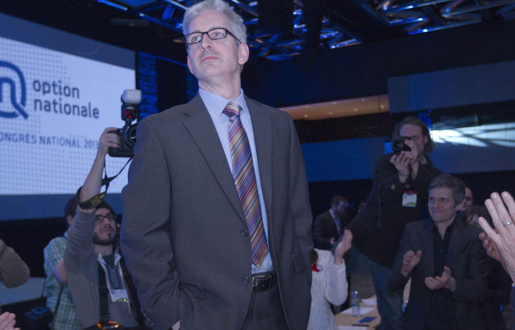 Jean-Martin Aussant lors du congrès d'Option nationale en mars dernier. Pour l'auteur, « ON est un parti animé d'une formidable volonté désormais décapité ».