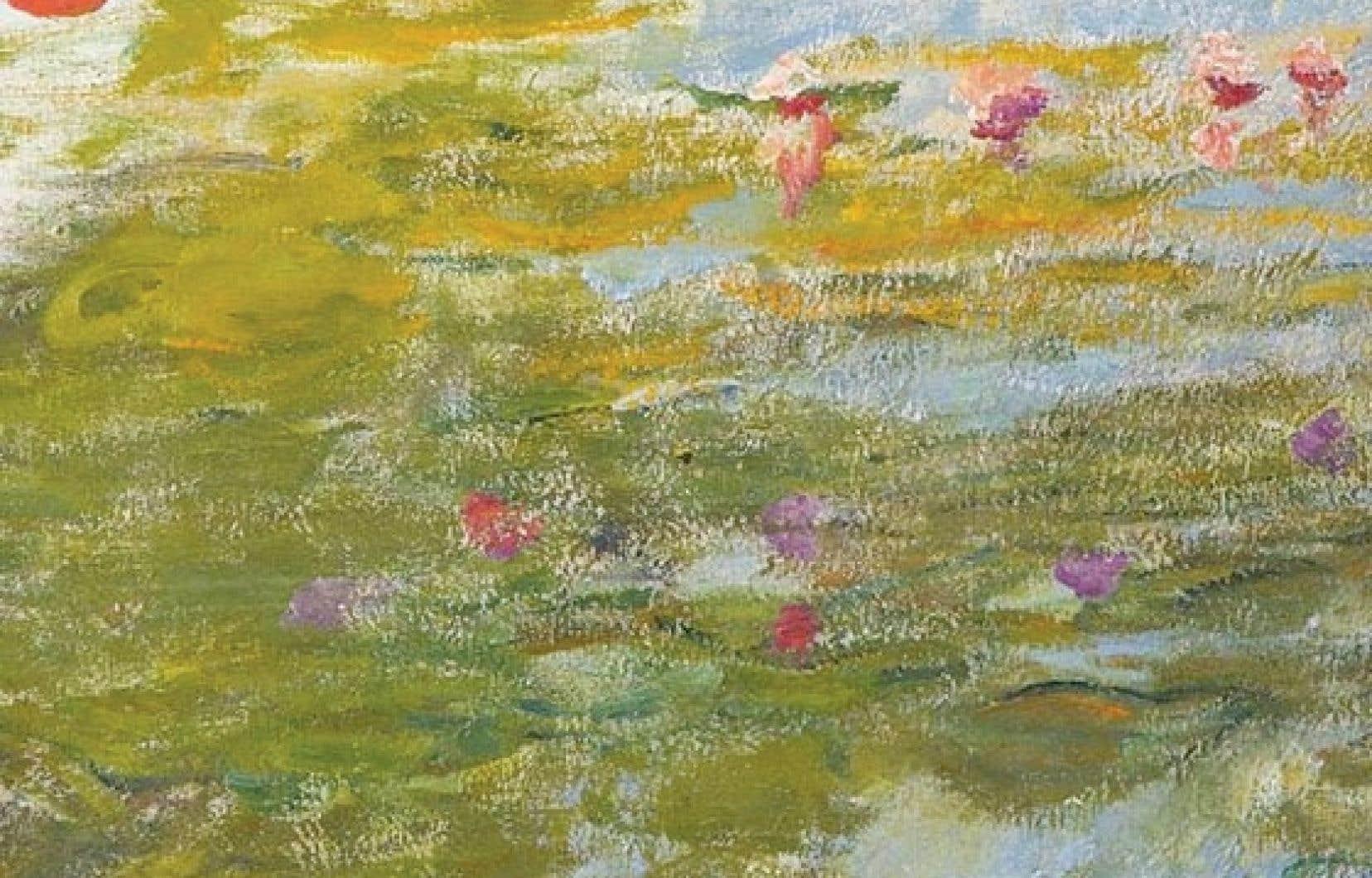 Détail de l'œuvre Fragment de nymphéas (1915), de Claude Monet, en vente à 2,5 millions de dollars.