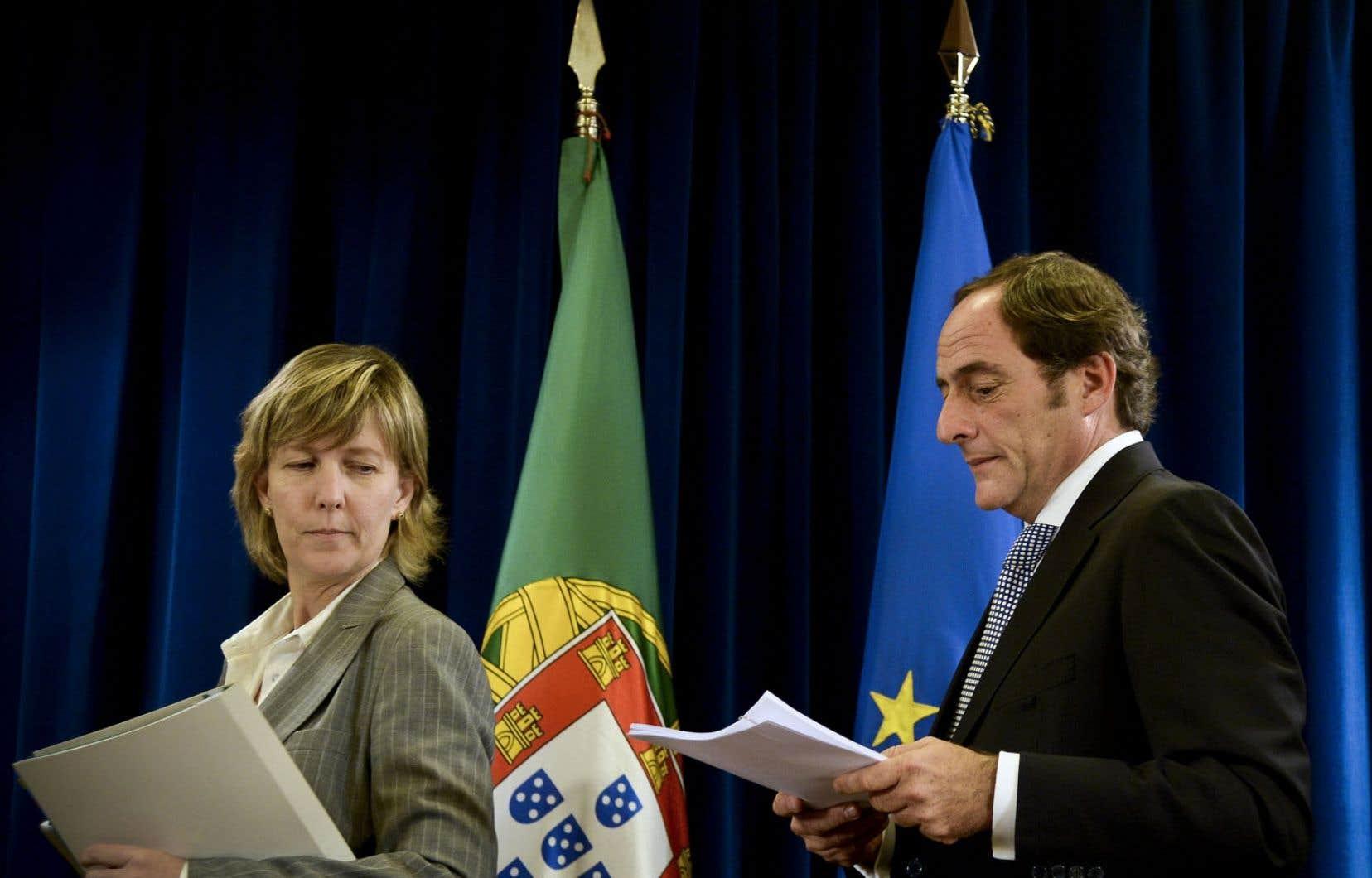 Maria Luis Albuquerque, ministre des Finances, et Paulo Portas, vice-premier ministre.
