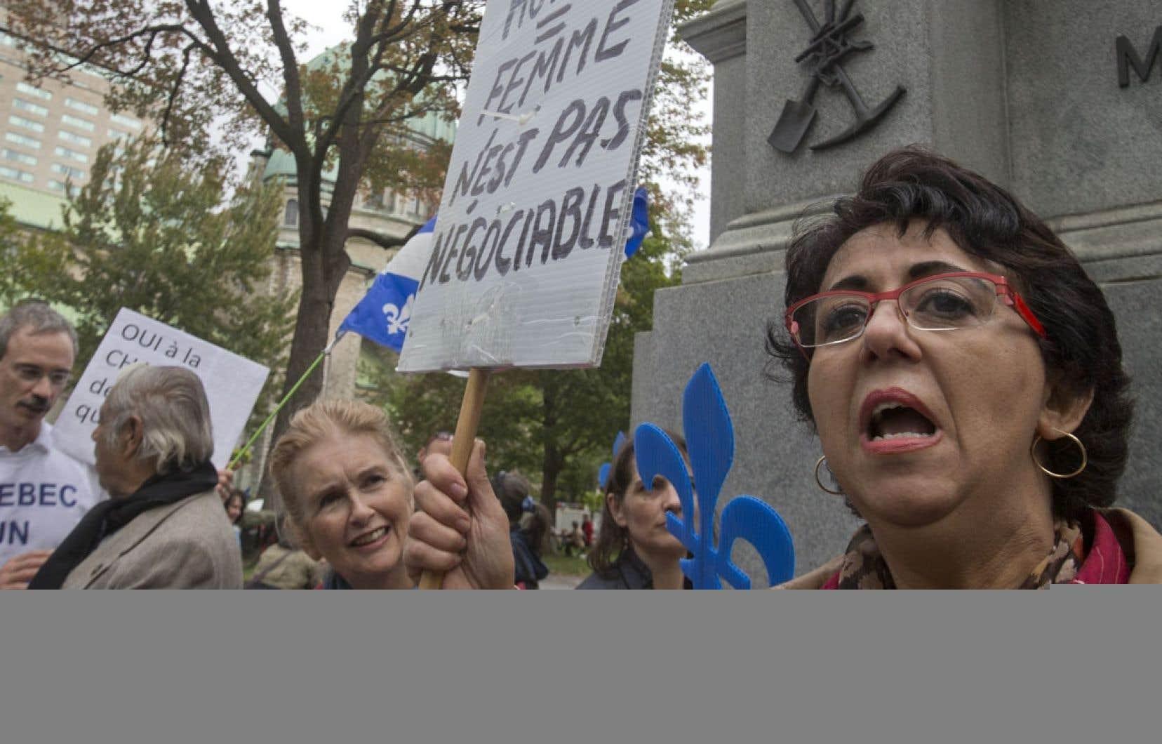 Le 23 septembre dernier, les citoyens en faveur du projet de Charte des valeurs québécoises se donnaient rendez-vous dans les rues de Montréal lors d'une manifestation.