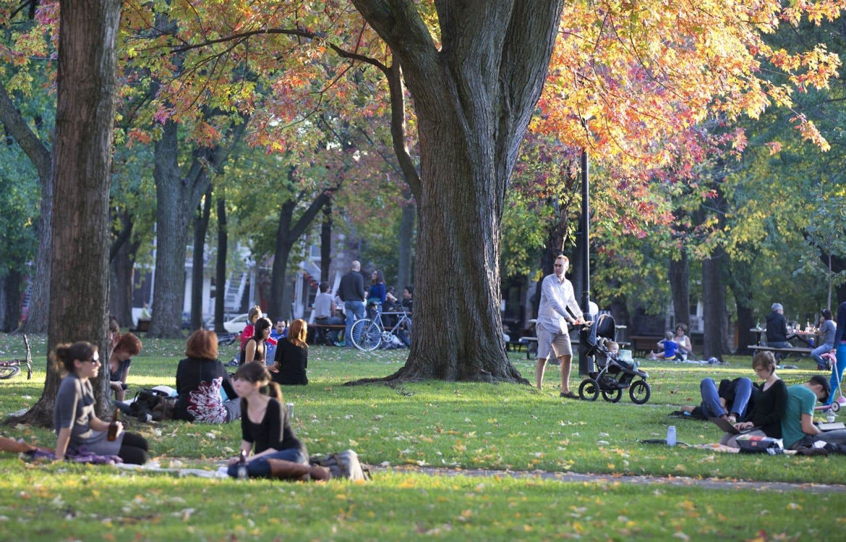 Pour beaucoup de Français, ce qui les a attirés au Plateau, ce sont les espaces verts et la vie de quartier. Ci-dessus, le parc Sir-Wilfrid-Laurier.
