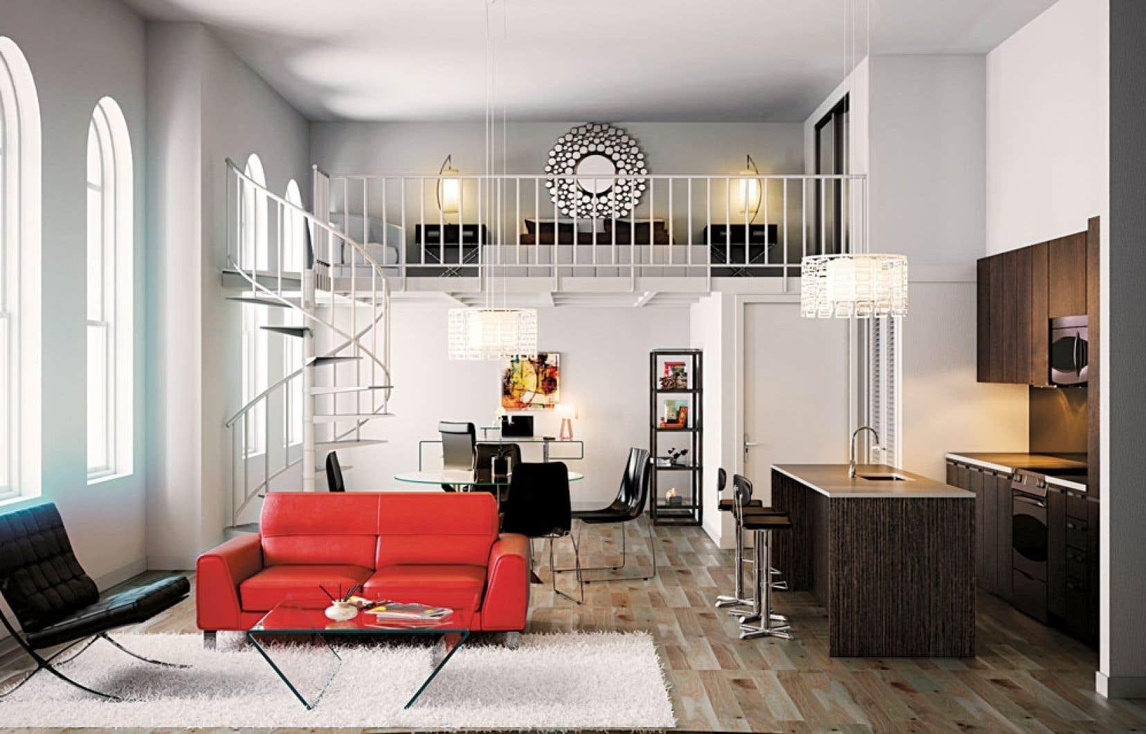 La hauteur des plafonds des logements variera de 8 à 16 pieds. Ainsi, certains seront même aménagés sur deux étages, avec une chambre en mezzanine, comme ci-dessus.