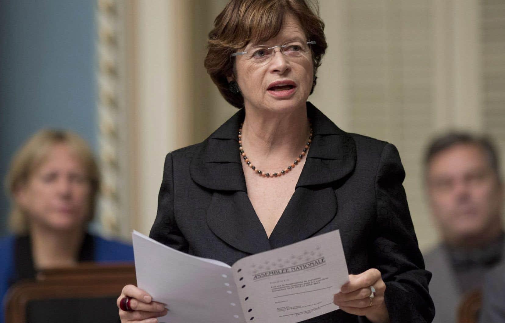 La ministre de l'Éducation, Marie Malavoy, a déposé son projet de loi jeudi.