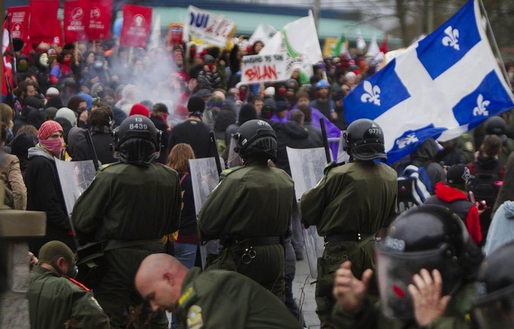 La manifestation qui a tourné à l'émeute à Victoriaville le 4mai 2012.