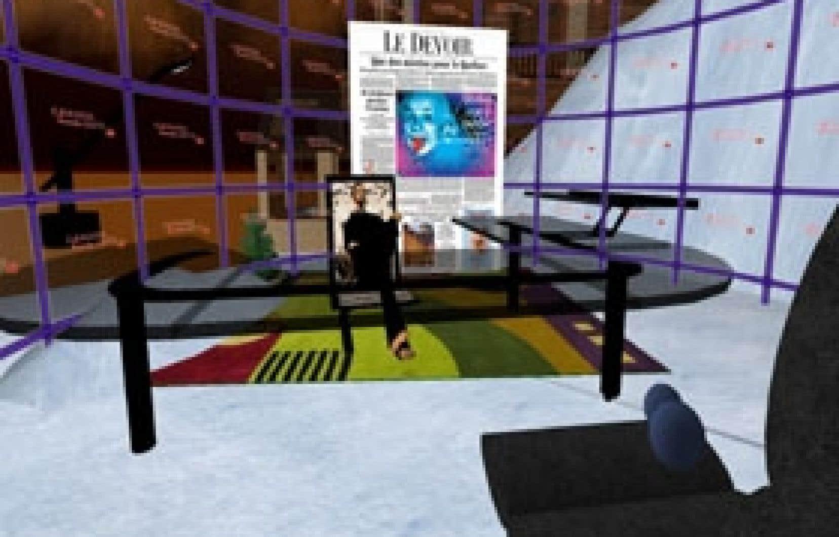 Fabien Qinan, le journaliste virtuel dépêché ces dernières semaines par Le Devoir dans Second Life, n'a pas eu de peine à se trouver un bureau, et même à le décorer à l'effigie du Devoir.