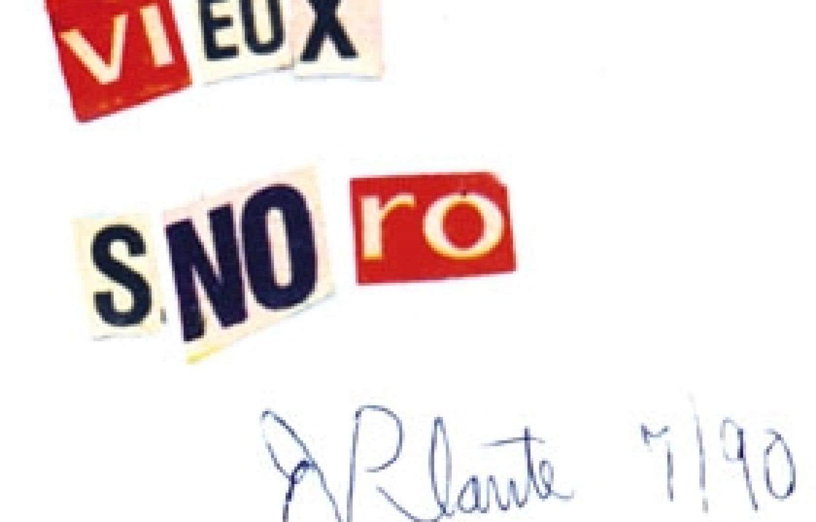 Il n'a pas voulu qu'on le sache mais on le sait. L'écrivain Réjean Ducharme est aussi Roch Plante, le créateur des Trophoux, des collages et des petites scupltures faites de matériaux recyclés. Ici, Vieux Snoro, l'une de ses oeuvres.