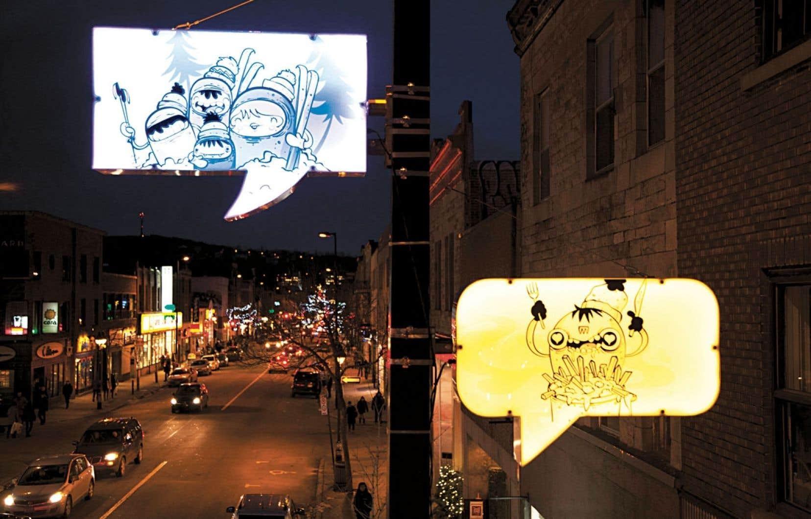 Des bulles rétroéclairées conçues par le collectif Turn Me On Design évoquent différents aspects de la vie de quartier.