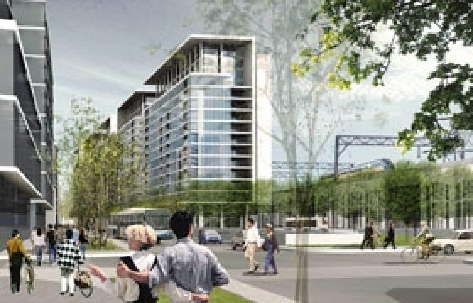 La Société du Havre propose de revitaliser le quartier à la porte du centre-ville, bordé par les rues Brennan, de la Commune, Queen, Saint-Antoine et Saint-Jacques ainsi que par le corridor ferroviaire du CN. On y démolirait la structure surélevée