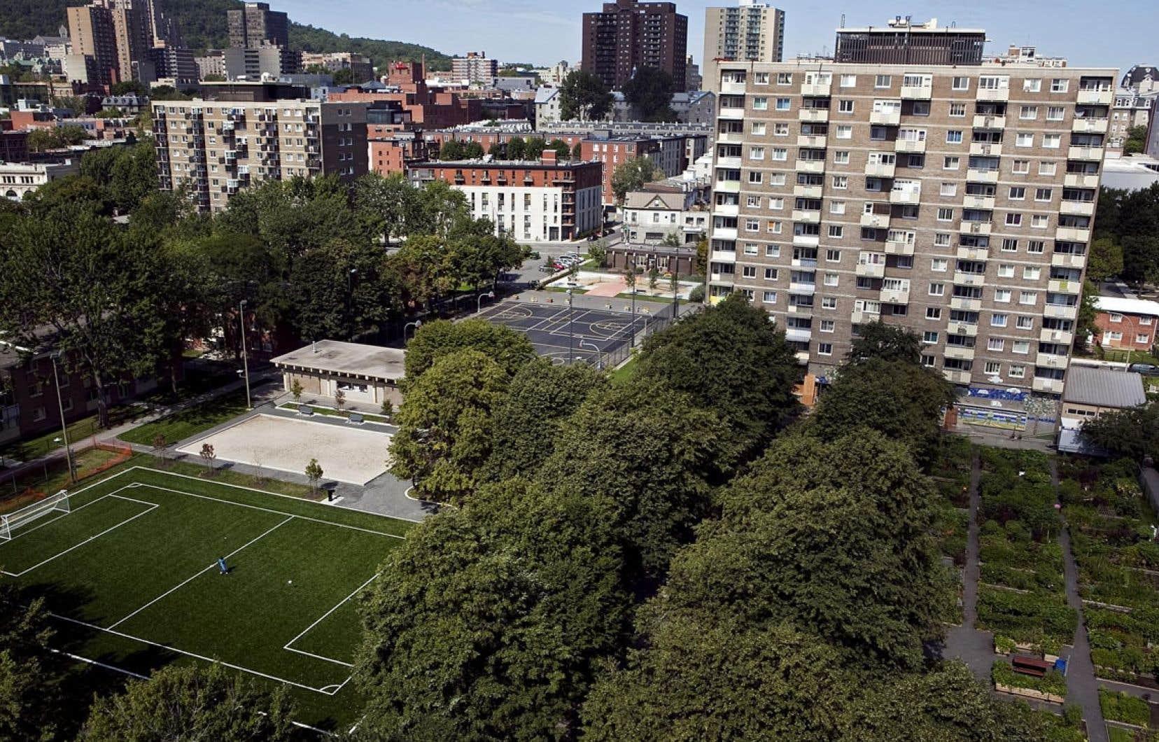 Les habitations Jeanne-Mance à Montréal ont vu les espaces bétonnés qui les entouraient transformés en espaces verts pour éviter la création d'îlots de chaleur.