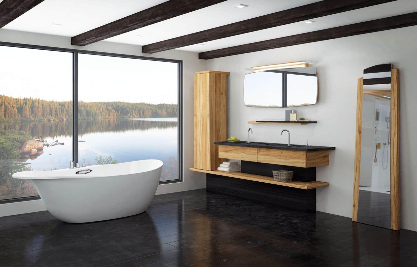 La collection de salle de bains Origine comprend des pièces telles que la baignoire Taïga et le lavabo Eskr inspirés du passage des glaciers qui ont marqué le territoire québécois, laissant dans la roche rainures, rondeurs et courbes douces et allongées.