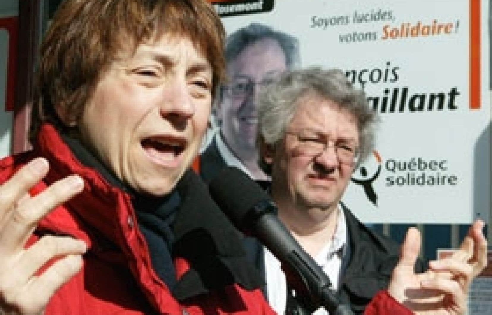 La porte-parole nationale de Québec solidaire, Françoise David, était en compagnie hier du candidat QS dans Rosemont, François Saillant, pour annoncer son programme en matière sociale.