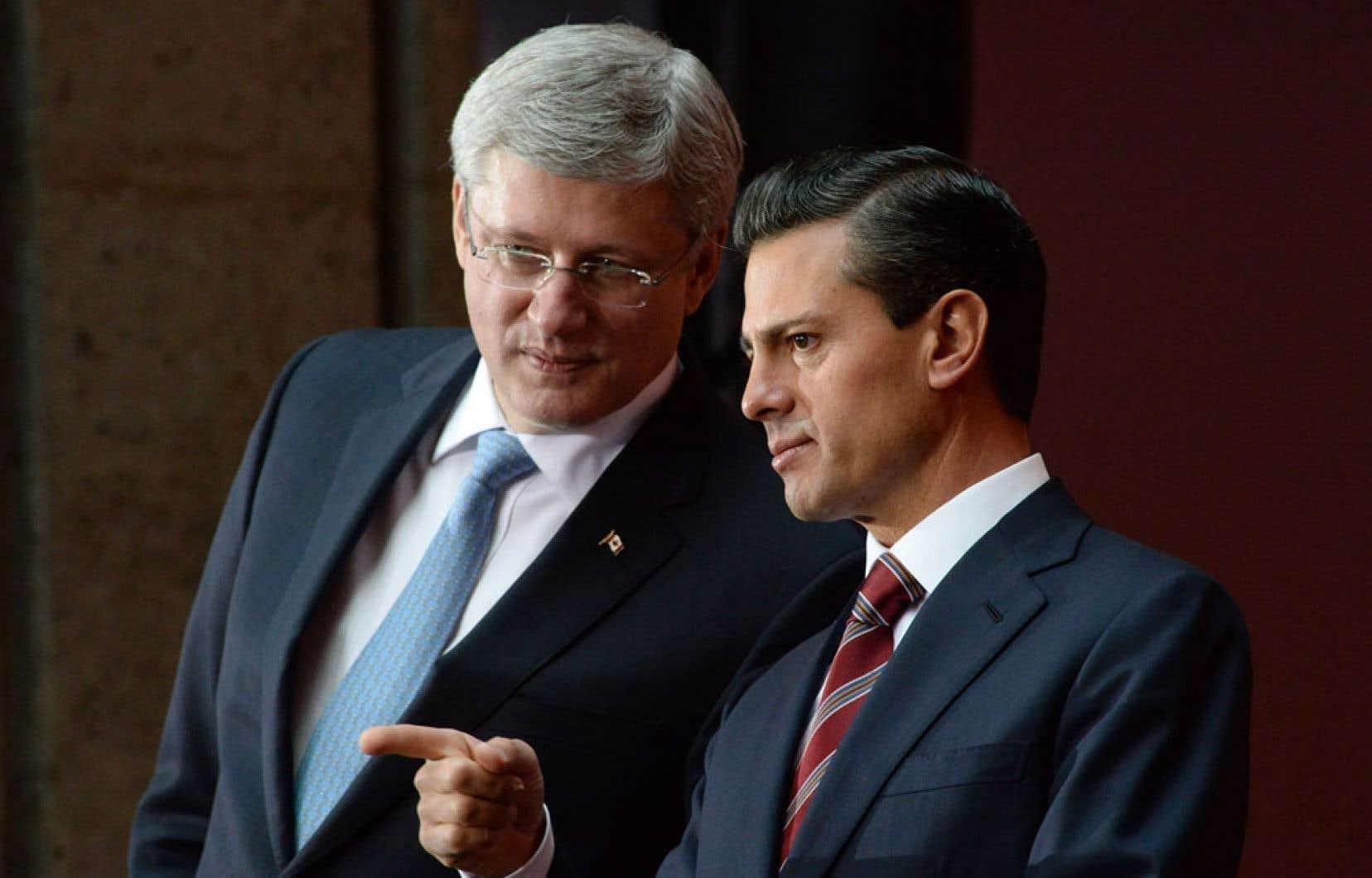En visite à Mexico où il a été accueilli par le président Enrique Pena Nieto, le premier ministre du Canada, Stephen Harper, a indiqué que ses hôtes n'offraient pas les garanties nécessaires pour qu'il autorise la levée des visas obligatoires pour les visiteurs en provenance du Mexique.