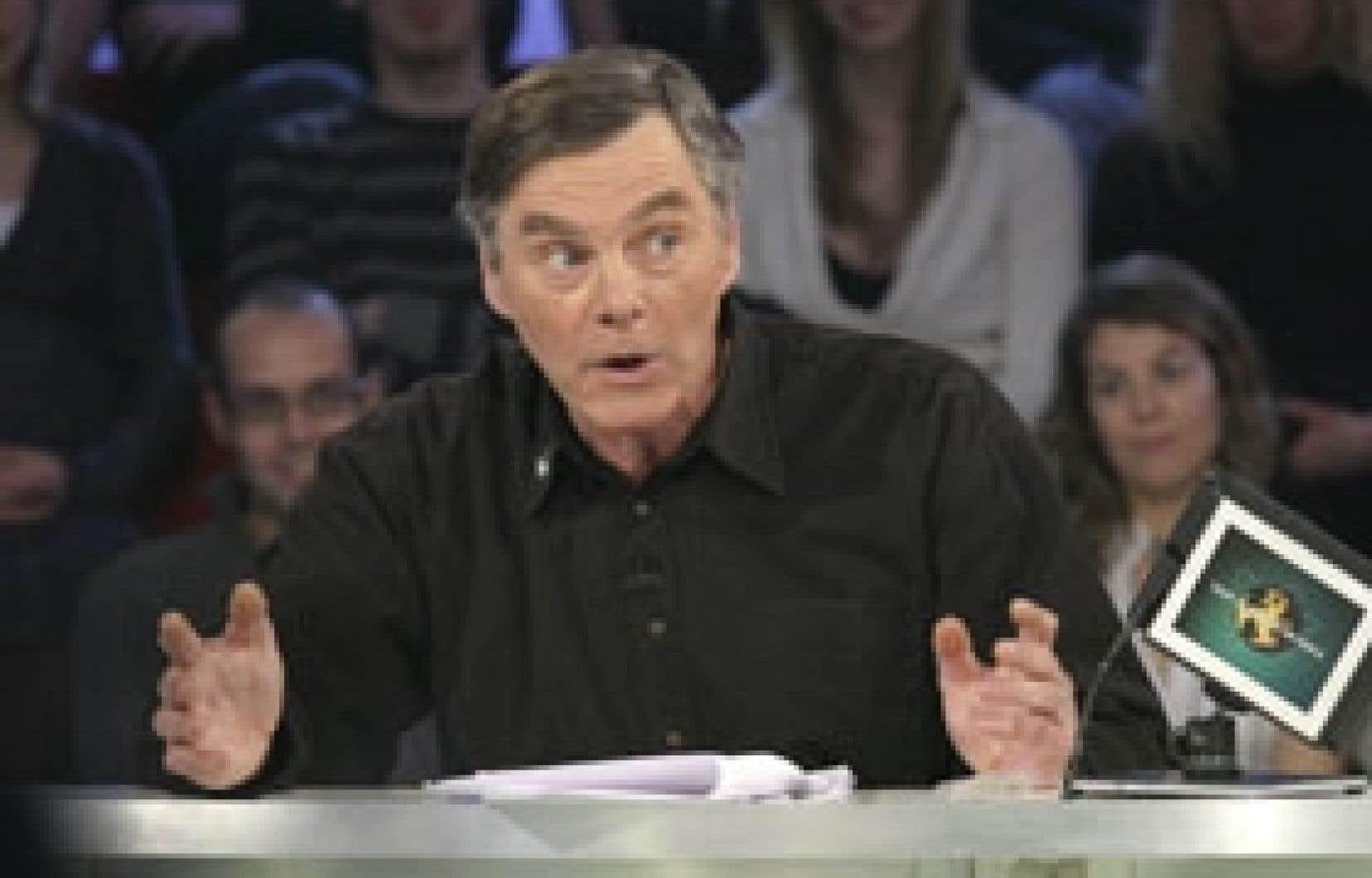 André Drouin, conseiller municipal d'Hérouxville, photographié lors de son passage à l'émission Tout le monde en parle. Source: Radio-Canada