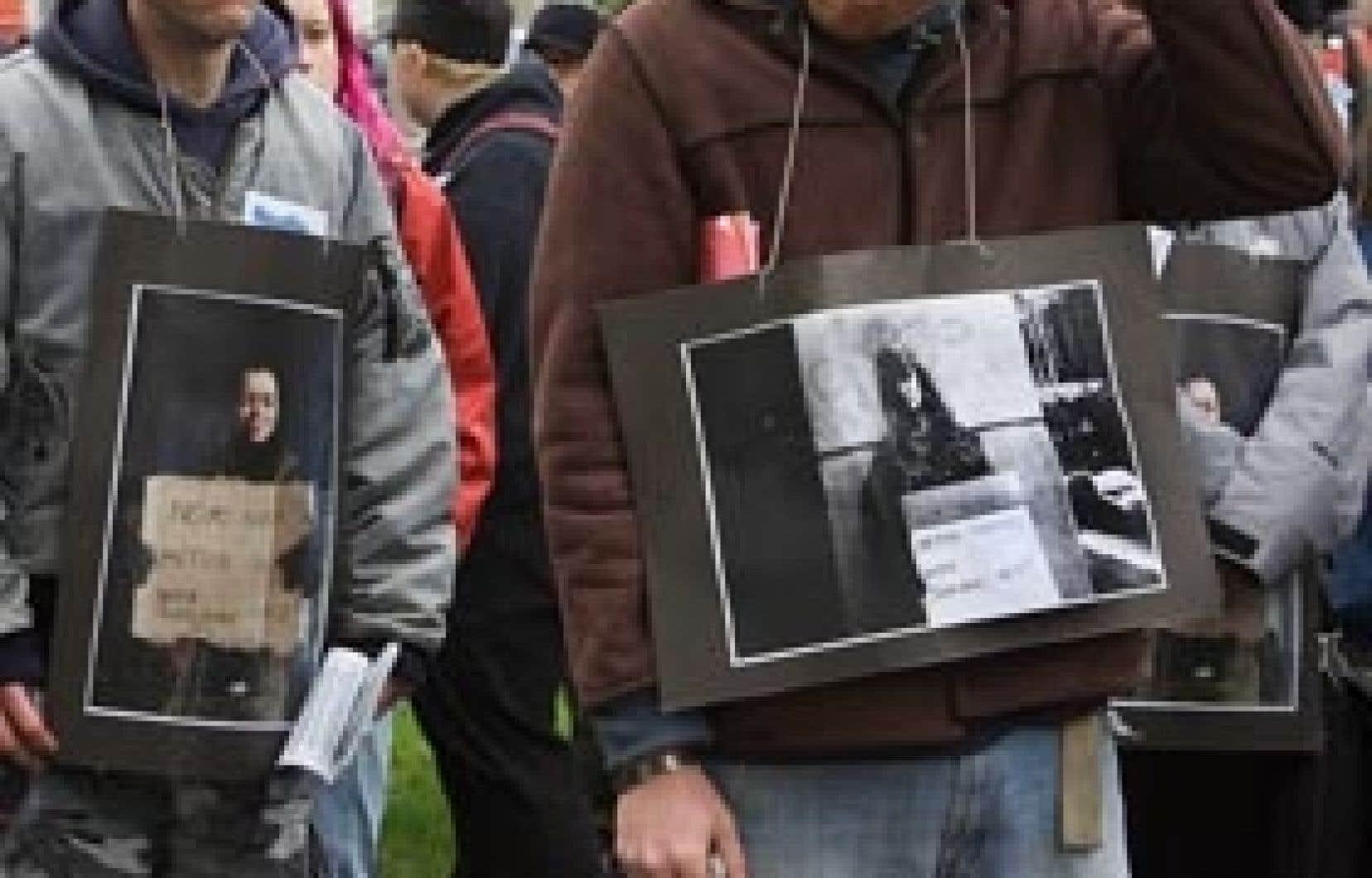 Photo prise lors d'une manifestation contre la judiciarisation des itinérants.