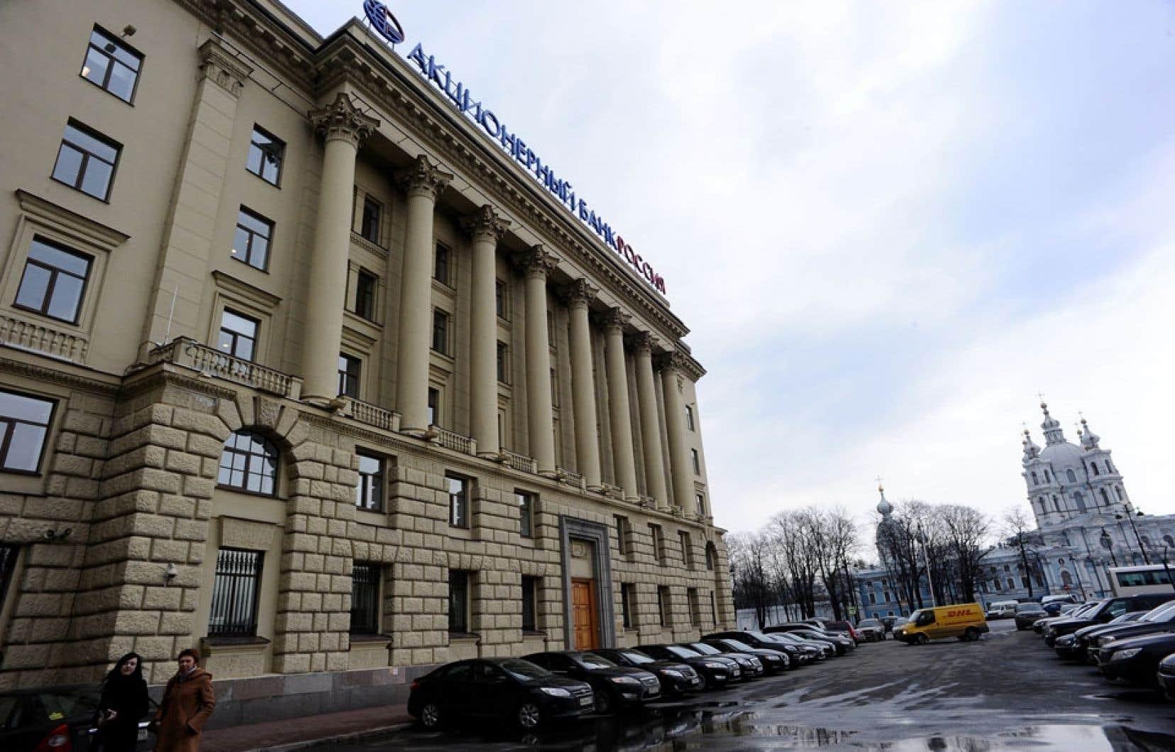 À Saint-Petersbourg, le siège social de la banque Rossia, contrôlée par Iouri Kovaltchouk, «le banquier personnel des hauts responsables en Russie».