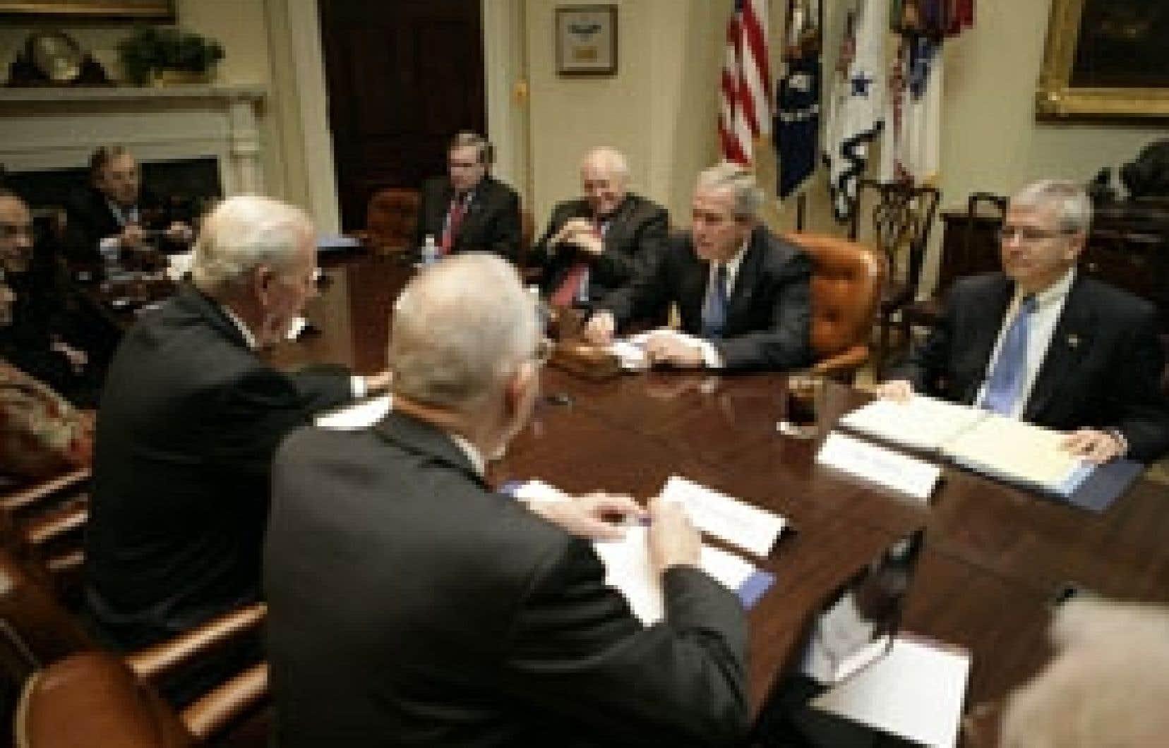 Le président George W. Bush a rencontré hier les membres de la commission d'étude sur l'Irak.