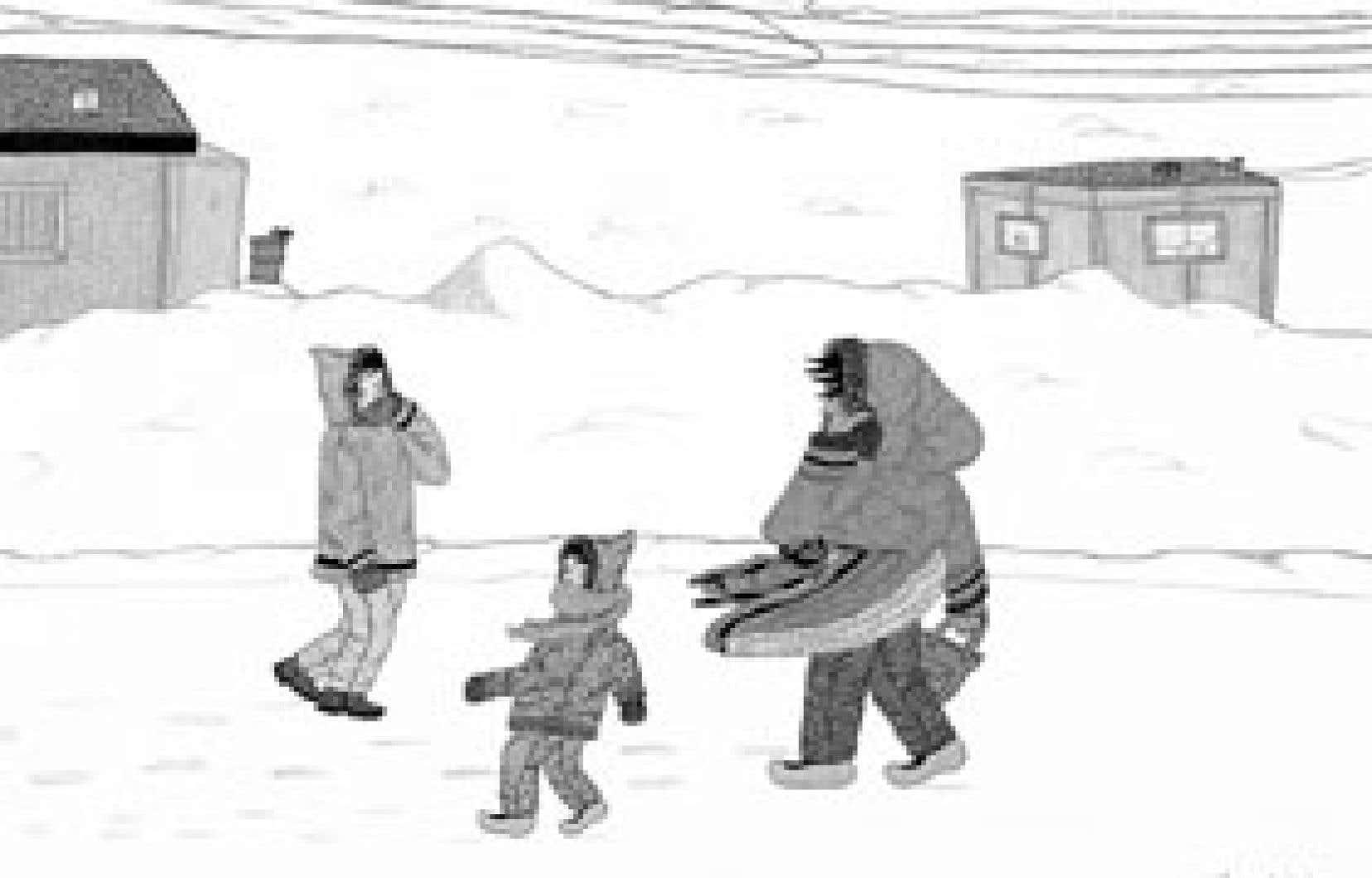 Annie Pootoogook, Composition (Windy Day), 2006 Source: collection de John et Joyce Price, seattle