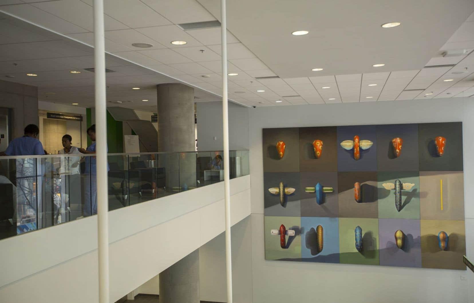 L'immense toile de cinq mètres sur sept de François Vincent se trouve dans l'espace ouvert de l'entrée principale. Premiers arrivants est fait de 15 panneaux arborant chacun un petit objet, mi-amulette, mi-cocon, aux couleurs chaudes.