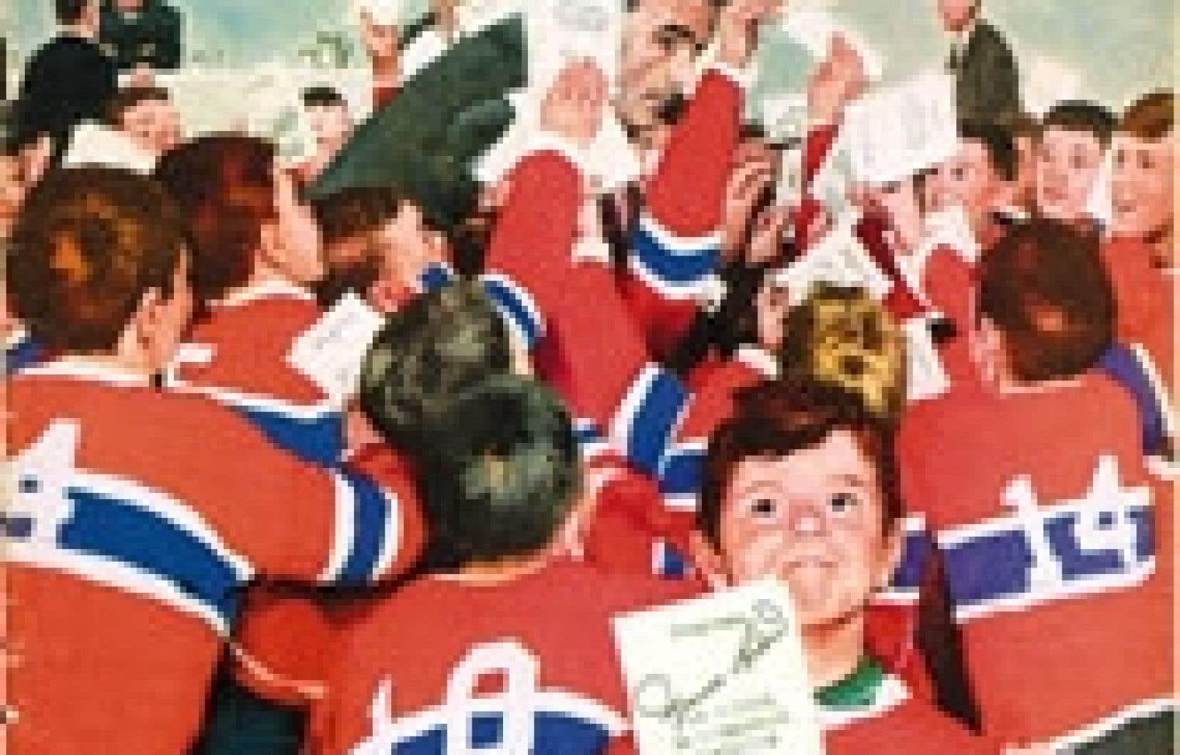 En première page du Maclean's du 28 mars 1959, Maurice Richard est entouré d'une nuée d'enfants. Image tirée de l'album Les Yeux de Maurice Richard.