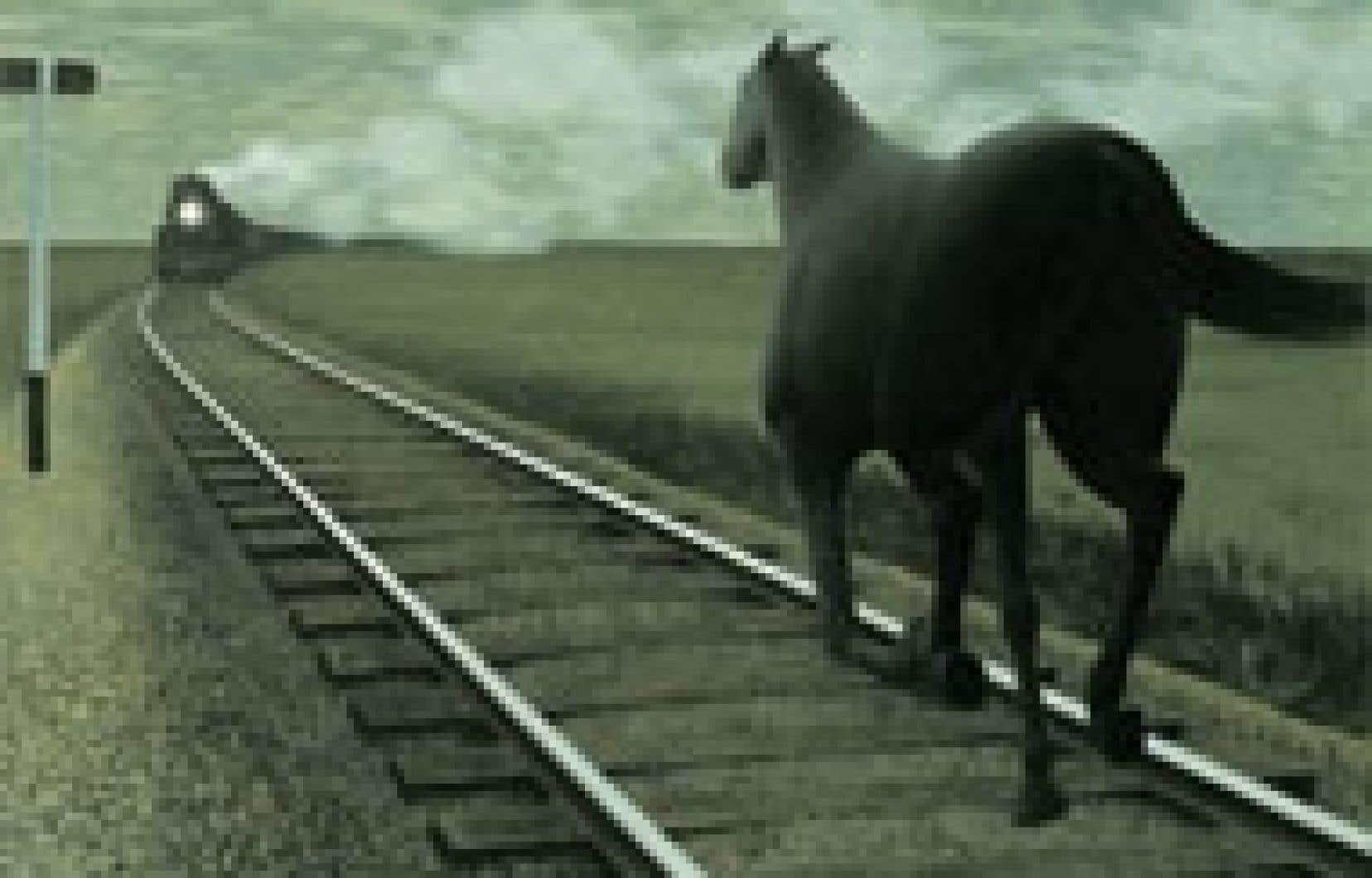 Le tableau Horse and Train du Canadien Alex Colville. Collection permanente de l'Art Gallery of Hamilton. Source: Art Gallery of Hamilton