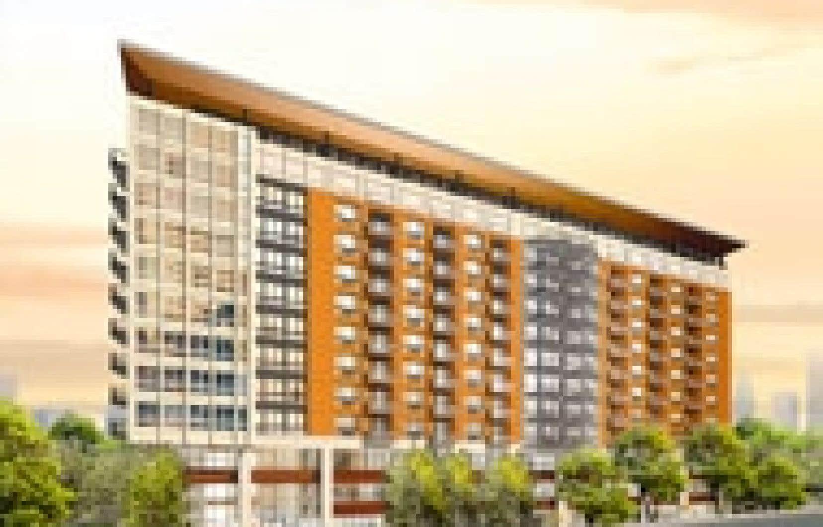 Élogia, un édifice de 12 étages situé à proximité de l'hôpital Maisonneuve-Rosemont, est un projet plus «haut de gamme» que la moyenne, selon le promoteur.  Source: Groupe Maurice