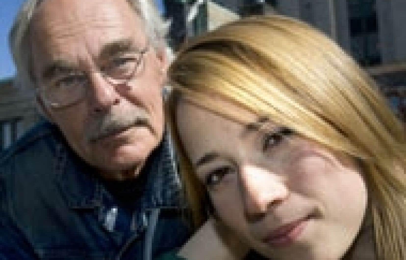 Le réalisateur de Sans elle, Jean Beaudin, en compagnie de la comédienne Karine Vanasse.