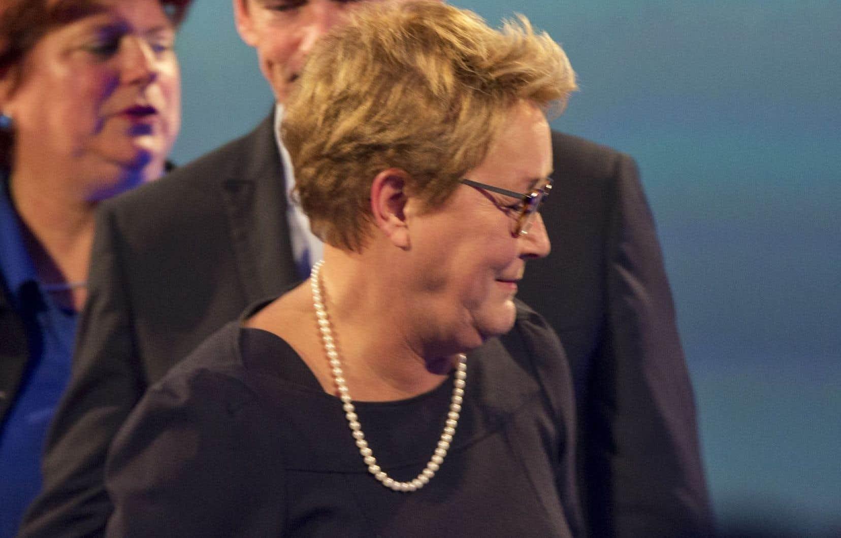 Pauline Marois annonçant sa démission le soir de la grande défaite du PQ, le 7 avril dernier
