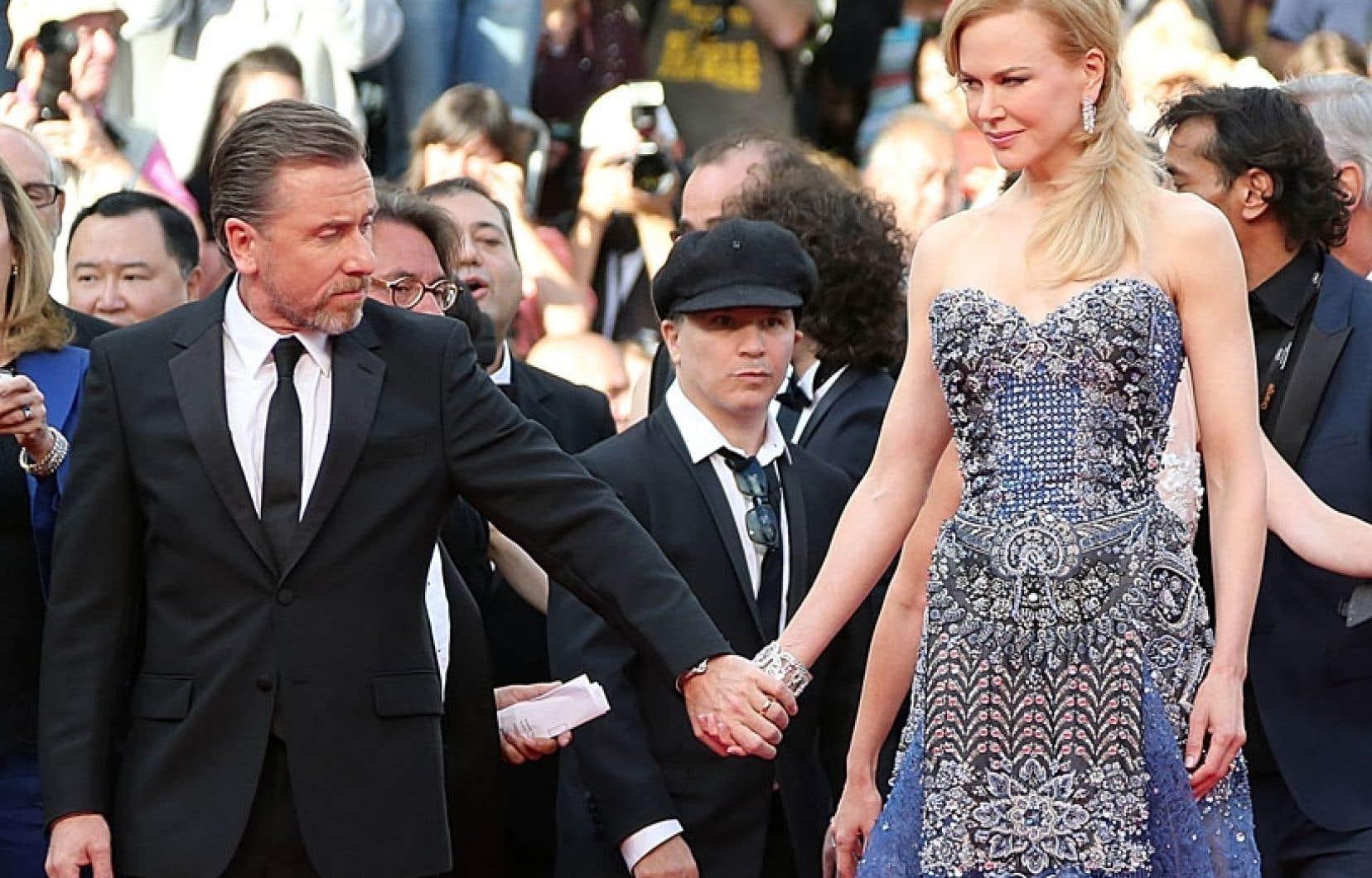 Tim Roth et Nicole Kidman, qui incarnent le couple princier dans Grace de Monaco, au moment où il faisaient leur entrée à la cérémonie d'ouverture du 67e Festival de Cannes.