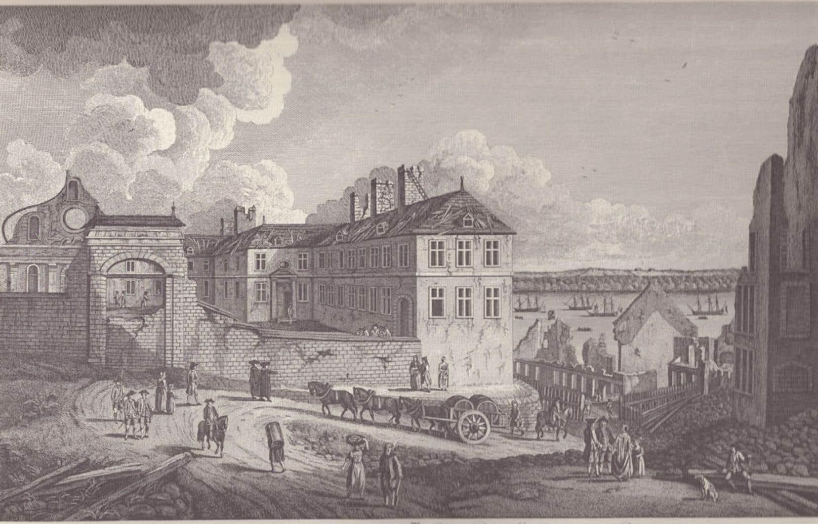 Vue du Palais épiscopal de Québec au lendemain du siège de 1759