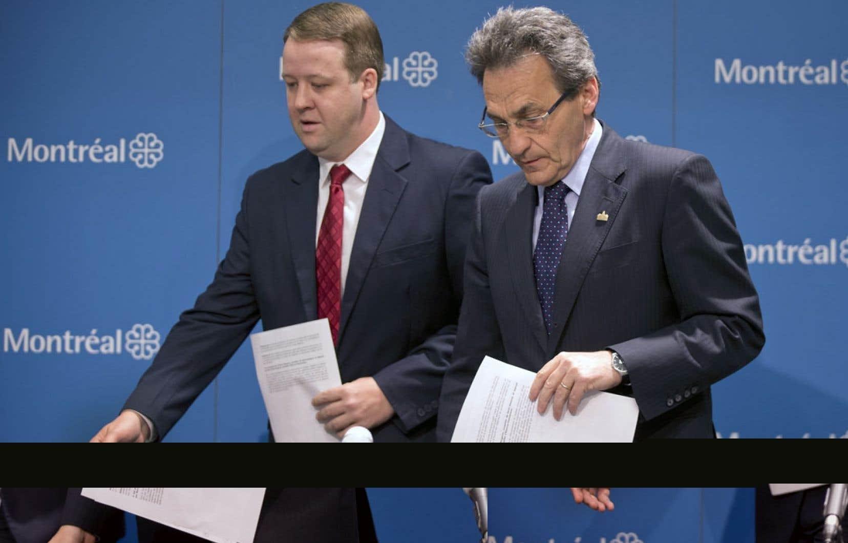 Richard Bergeron (à droite), en compagnie du leader parlementaire de Projet Montréal, Marc-André Gadoury