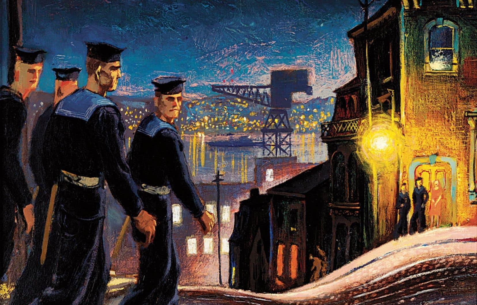 Barrington Street Patrol Halifax, œuvre du lieutenant Thomas Charles Wood, un artiste qui a servi dans la marine entre1944 et1946.