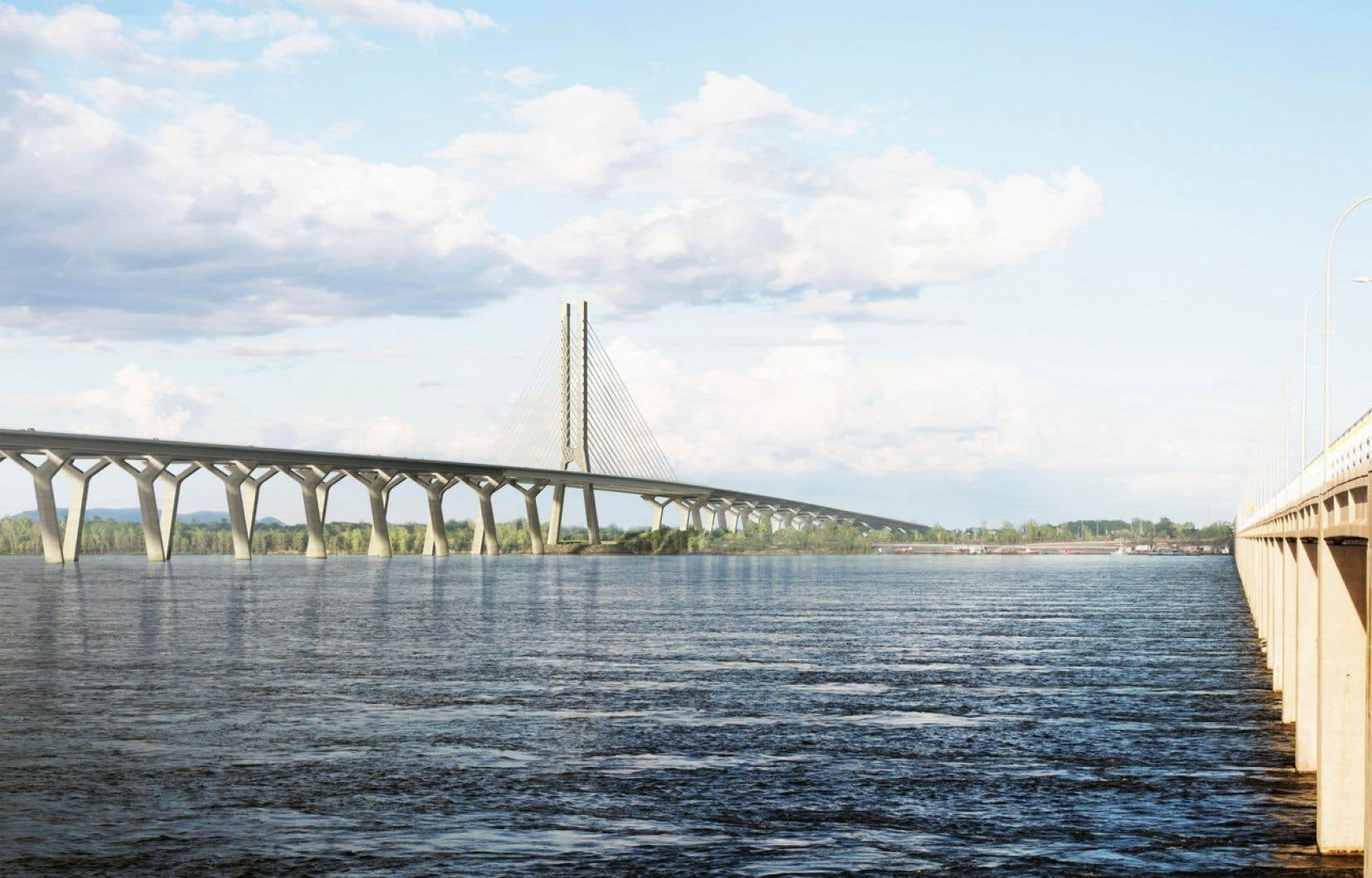 Le nouveau pont sera doté de haubans dans la section qui surplombe la Voie maritime du Saint-Laurent.
