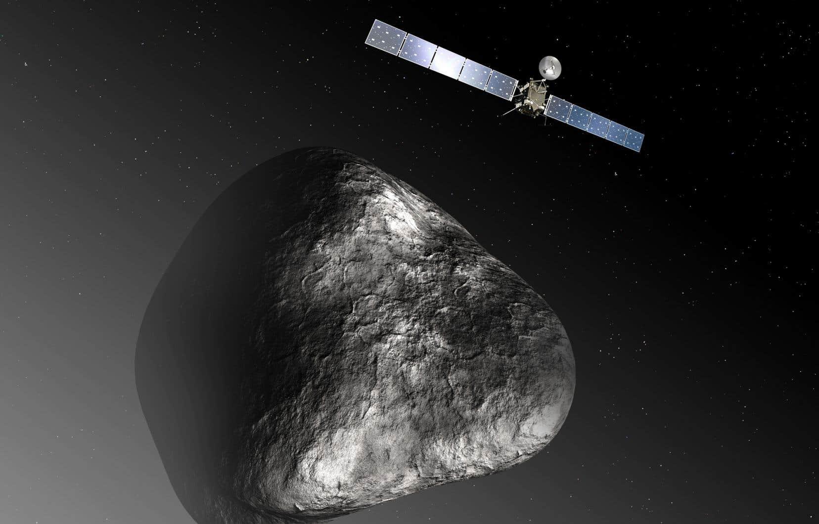 La sonde Rosetta (vue d'artiste) devant le noyau de la comète 67P Tchourioumov-Guérassimenko