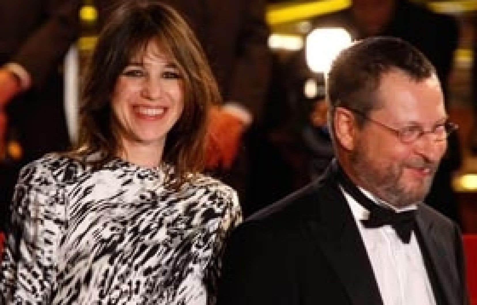 Le cinéaste danois Lars von Trier en compagnie de Charlotte Gainsbourg, lors de la projection de son film Antichrist.