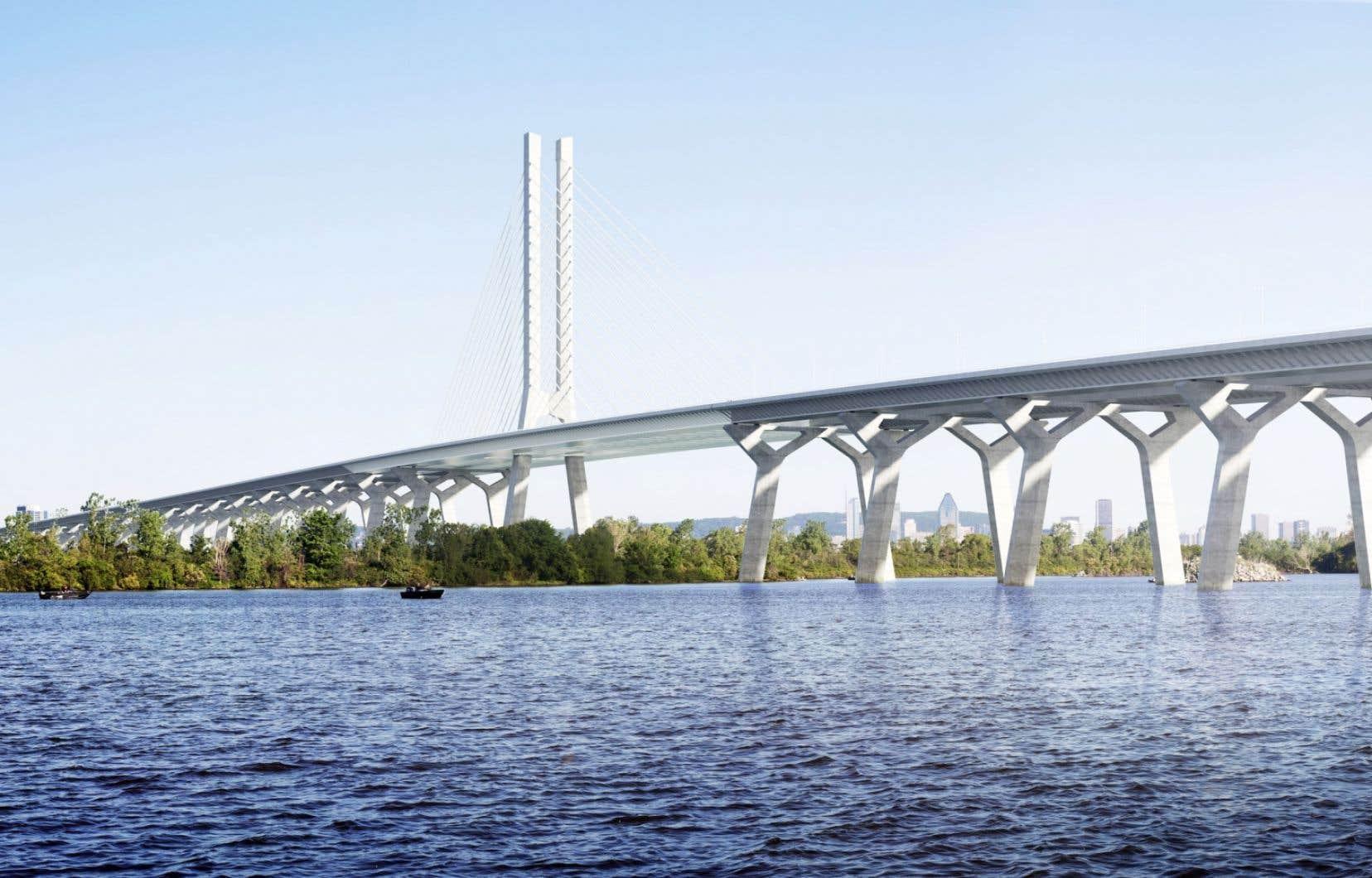 Une maquette du futur pont Champlain. Québec n'a toujours pas décidé si la structure permettra le passage d'un SLR.
