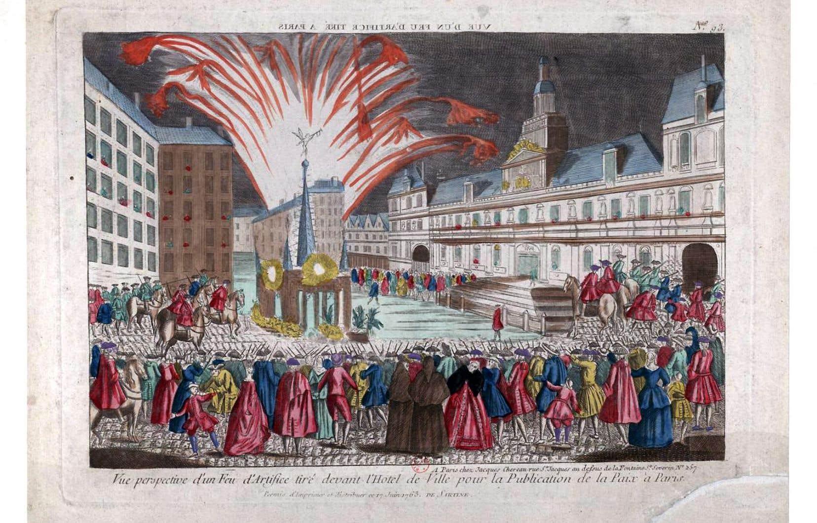 Feu d'artifice tiré à l'occasion de la signature du traité de Paris.