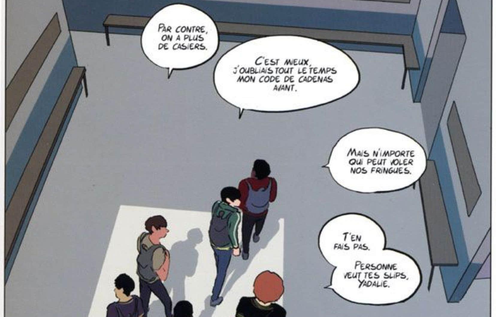 Le dernier Timothé Le Boucher propose une incursion dans le vestiaire des garçons d'une école secondaire, juste avant un cours d'éducation physique.