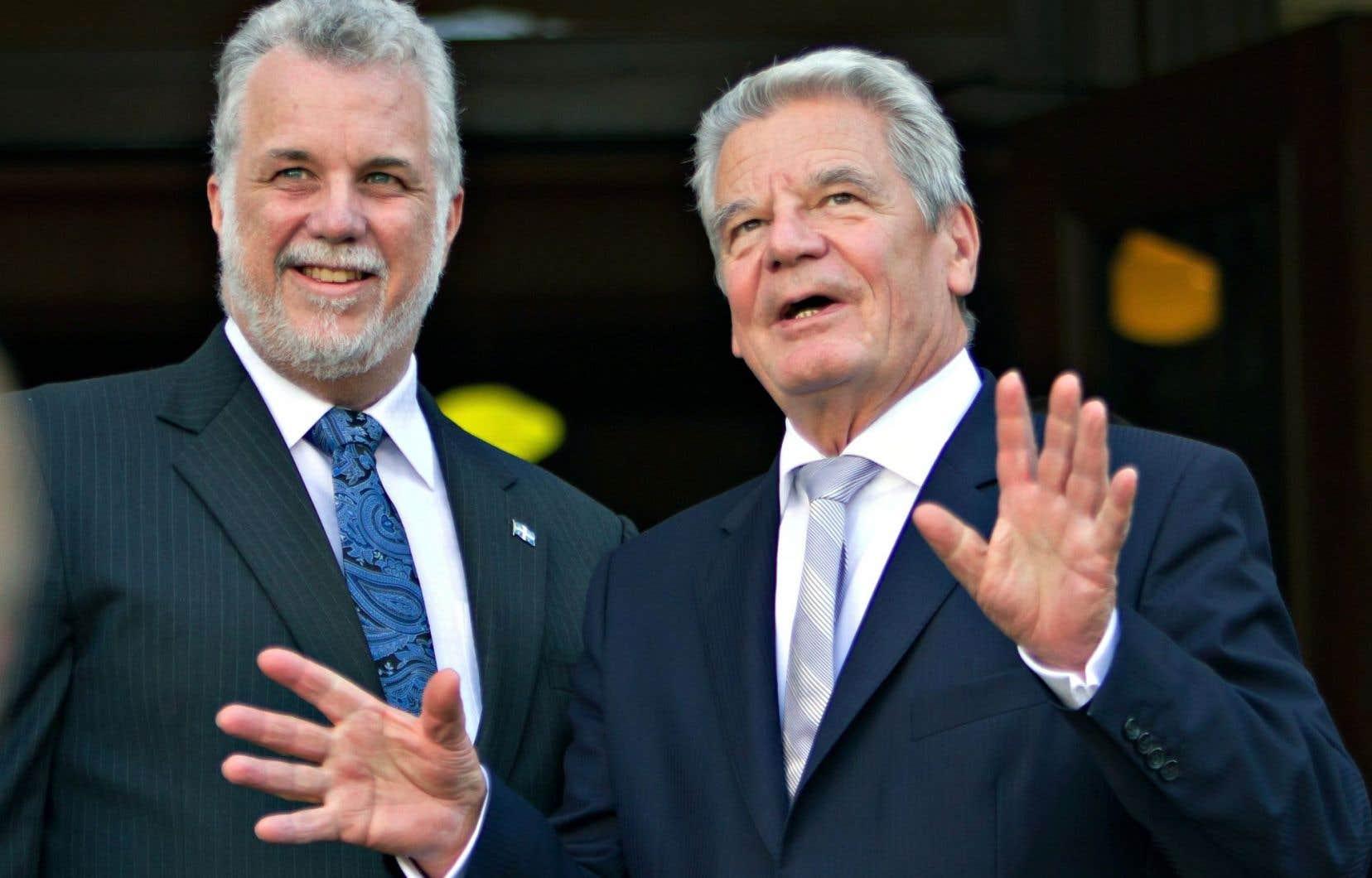 Philippe Couillard a rencontré le président allemand, Joachim Gauck, lors de sa visite au Québec.
