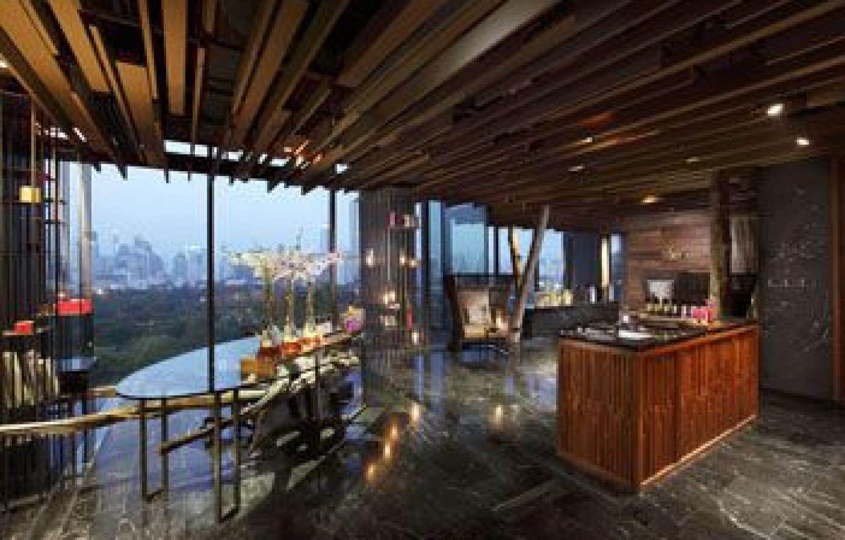 La réception du spa à l'hôtel Sofitel So Bangkok.