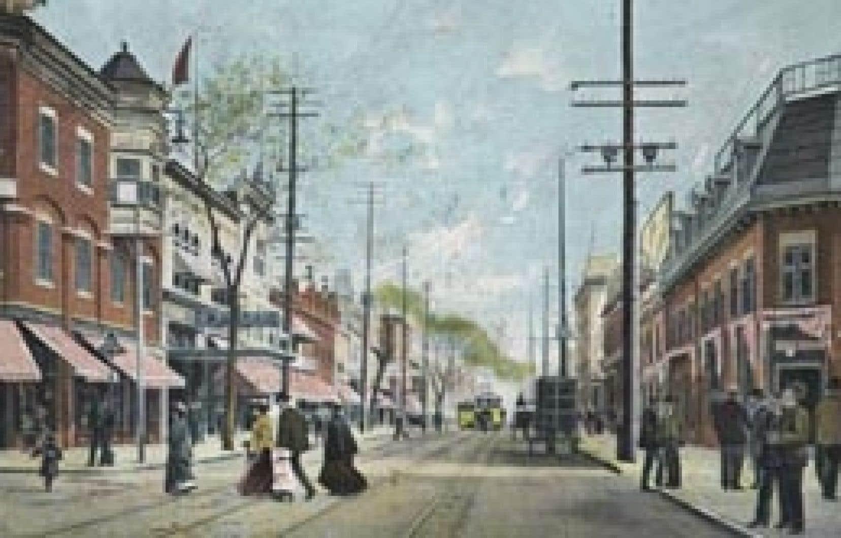 Vue de la rue Sainte-Catherine à l'est de la rue Saint-Laurent (vers 1914). À gauche, le théâtre Français, où se trouve aujourd'hui le Métropolis.