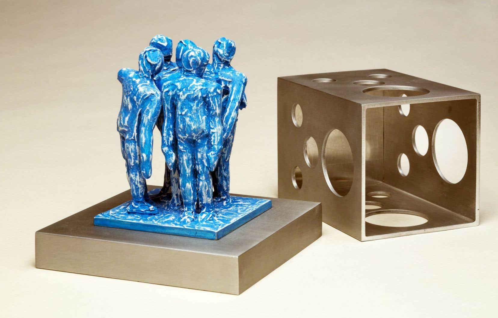 Tête de robot, 2014, aluminium, bois, peinture
