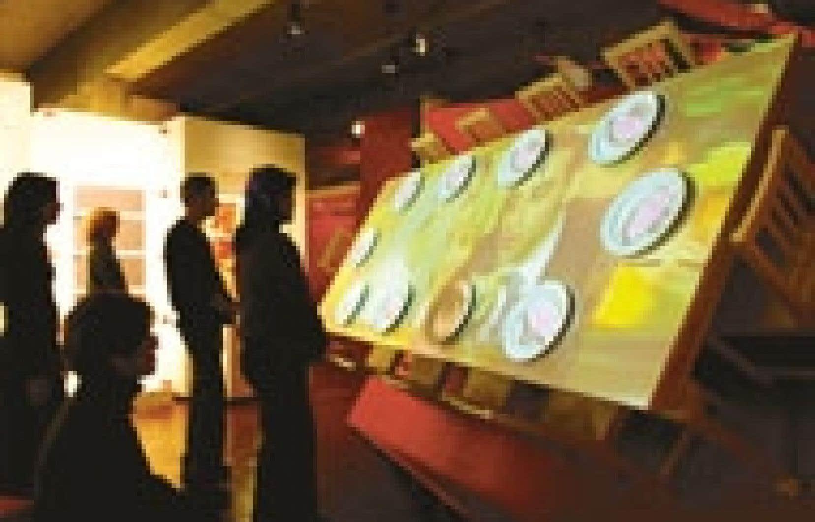 Célébrer à Montréal : au menu de cette table-écran, un repas en 12 services et 12 minutes. Source: Normand Rajotte, Musée Pointe-à-Callière