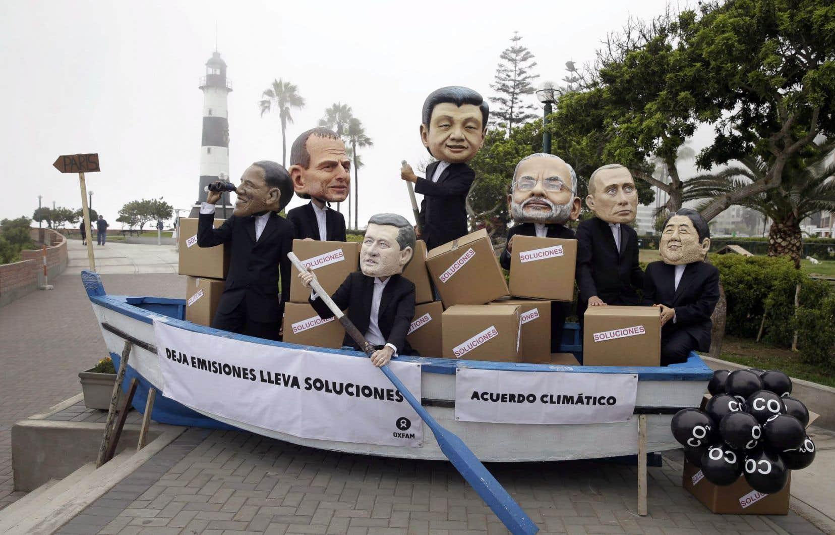 Des manifestants ont parodié les dirigeants mondiaux lors du dernier sommet sur le climat, à Lima.