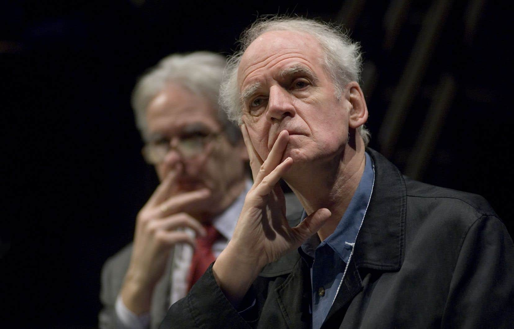 Charles Taylor (en avant-plan) et Gérard Bouchard durant les auditions de la commission Bouchard-Taylor.
