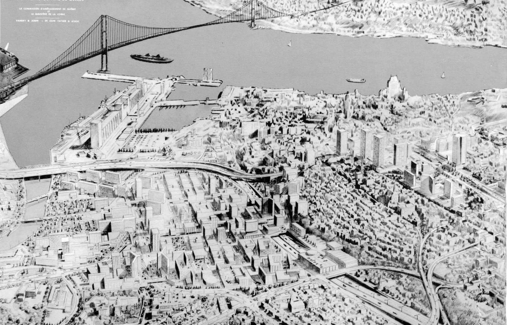 Vue futuriste de la capitale tirée du Plan de circulation et de transport pour la région métropolitaine de Québec présenté en 1968 par la Commission d'aménagement de Québec et le ministère de la Voirie.