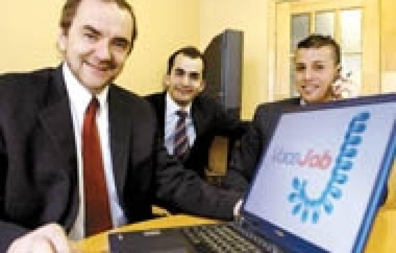 De gauche à droite, Michel Nadeau, président du conseil, Driss Amraoui, qui s'occupe notamment du service aux entreprises, et Hakim Chickh, président de Voice Job.