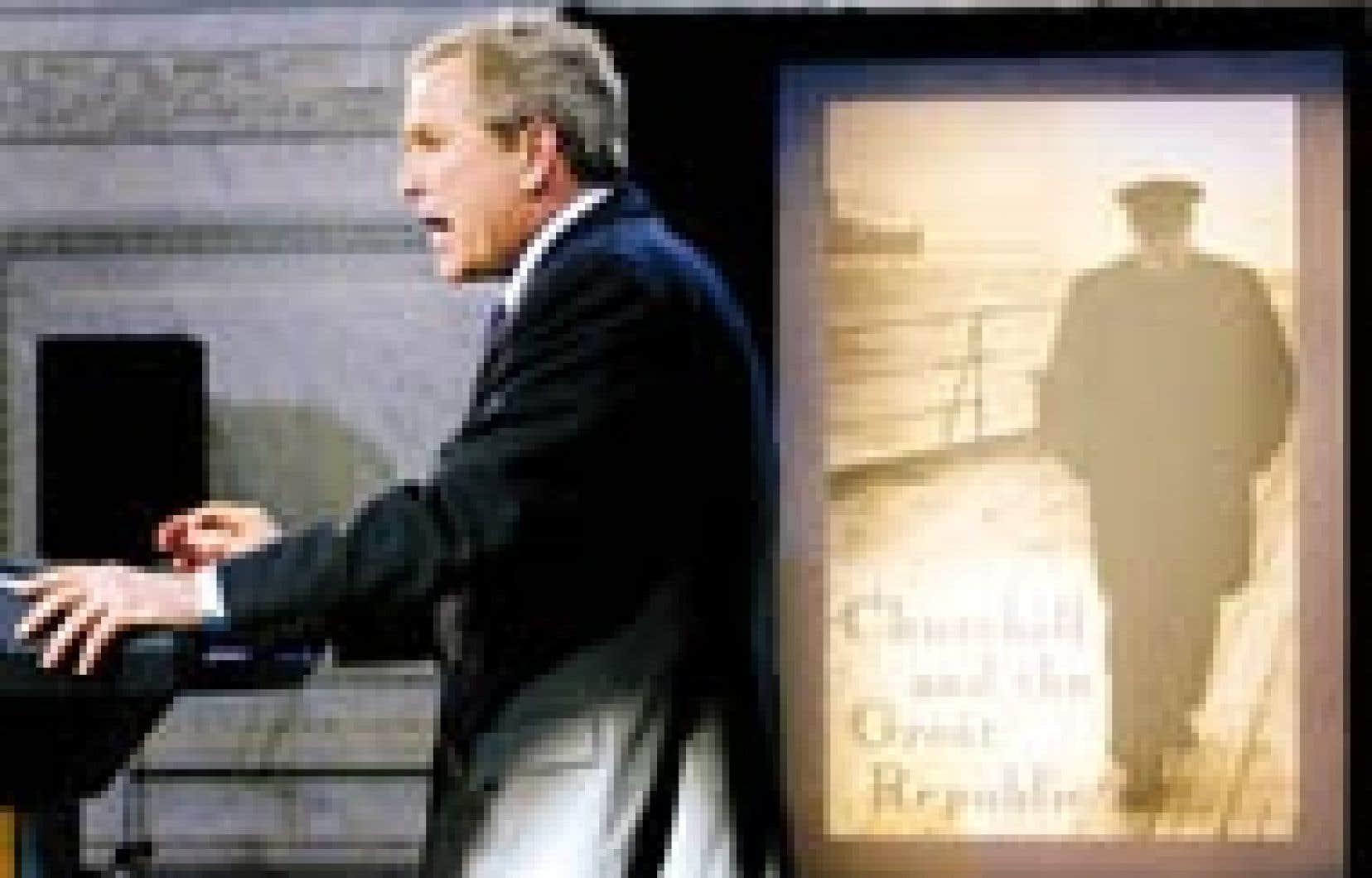 «Je vois l'esprit de Churchill dans le premier ministre Tony Blair», a affirmé hier George W. Bush.